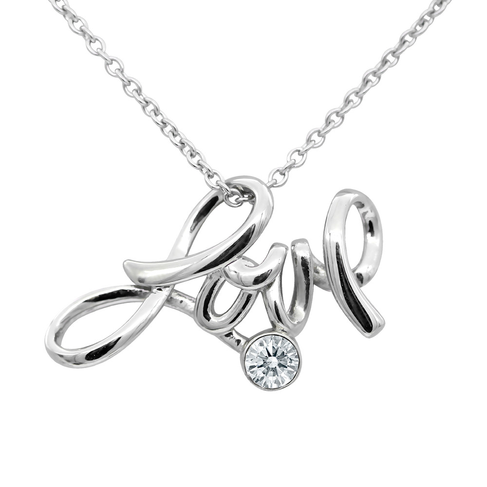 Love Necklace 316L Stainless Steel with Swarovski Crystal Pendant